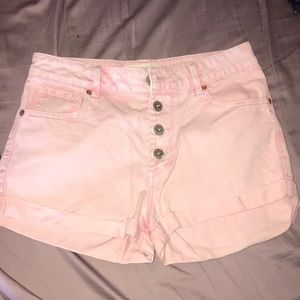 Pink high rise denim shorts size 3